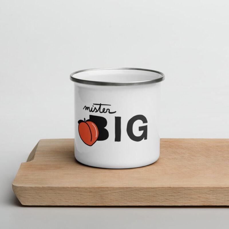 """Enamel mug for the members of the Big Booty Club. The design represents the text """"Mister BIG"""" with a peach. Mugs - LGBTQ+ Gay Pride Apparel - enamel mug white 12oz front 6074d138a7c87"""