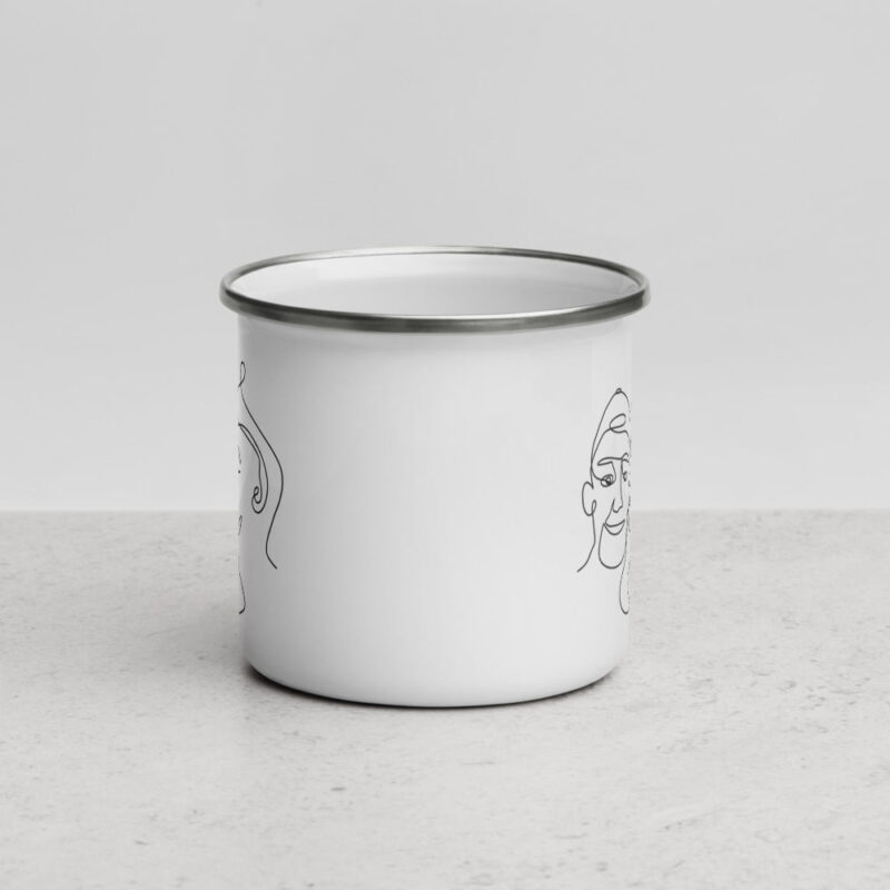 White enamel mug with a print of 2 men kissing. One guys is kissing the other on the cheek. The print is visible on both sides. Mugs - LGBTQ+ Gay Pride Apparel - enamel mug white 12oz front 6074d19202a8f