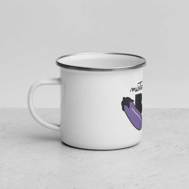 """This enamel mug with perfect if your nickname is """"Mister Big"""". This design represents the text """"Mister BIG"""" and an eggplant. Mugs - LGBTQ+ Gay Pride Apparel - enamel mug white 12oz left 6072d7d8cc0eb"""