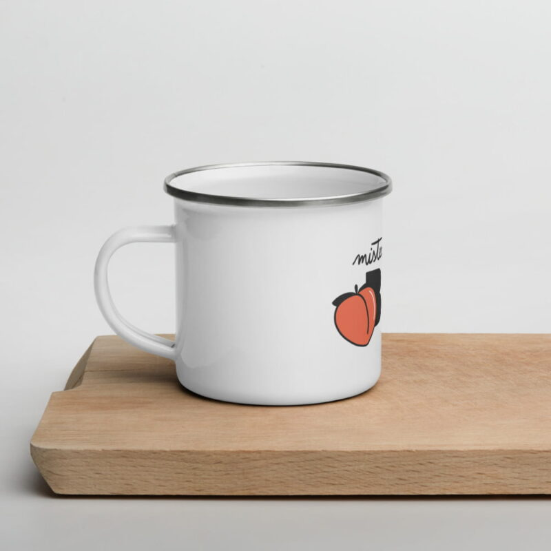 """Enamel mug for the members of the Big Booty Club. The design represents the text """"Mister BIG"""" with a peach. Mugs - LGBTQ+ Gay Pride Apparel - enamel mug white 12oz left 6074d138a7d8f"""