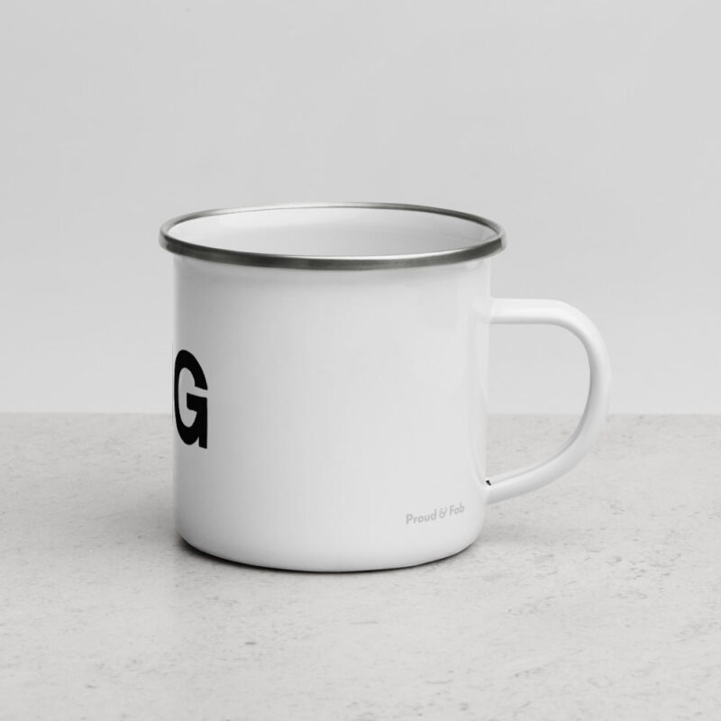"""This enamel mug with perfect if your nickname is """"Mister Big"""". This design represents the text """"Mister BIG"""" and an eggplant. Mugs - LGBTQ+ Gay Pride Apparel - enamel mug white 12oz right 6072d7d8cc060"""