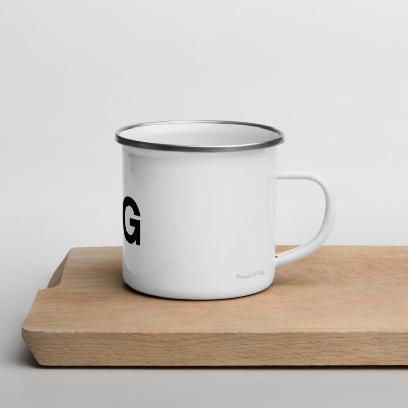 """Enamel mug for the members of the Big Booty Club. The design represents the text """"Mister BIG"""" with a peach. Mugs - LGBTQ+ Gay Pride Apparel - enamel mug white 12oz right 6074d138a7d32"""