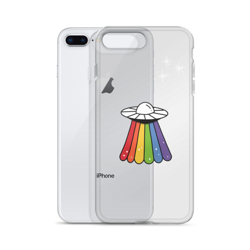 Transparent iPhone case with a rainbow UFO drawn on it. Accessories & Living - LGBTQ+ Gay Pride Apparel - iphone case iphone 7 plus 8 plus case with phone 608bc46ce8962