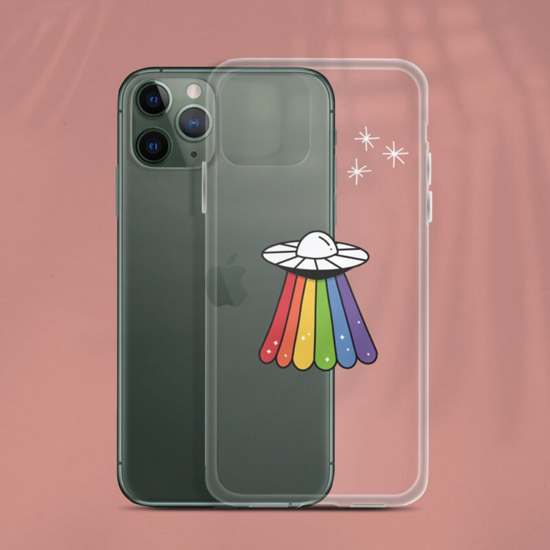 Transparent iPhone case with a rainbow UFO drawn on it. Accessories & Living - LGBTQ+ Gay Pride Apparel - ufo iphone 1