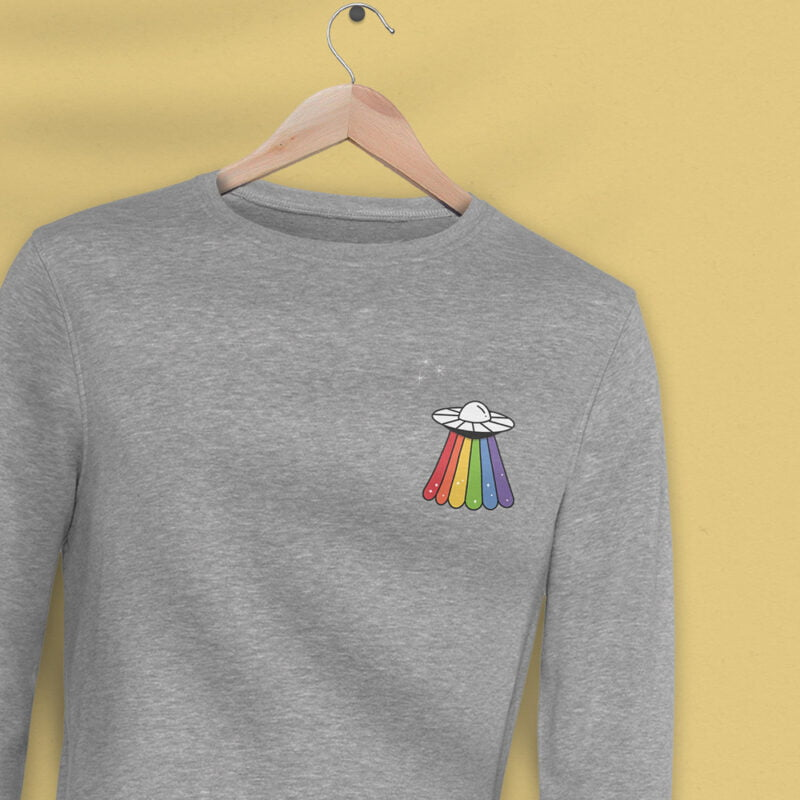 Sweatshirt with a rainbow UFO printed on the chest. This sweat has regular fit and premium fabric. Sweats - LGBTQ+ Gay Pride Apparel - ufo sweat 1 2