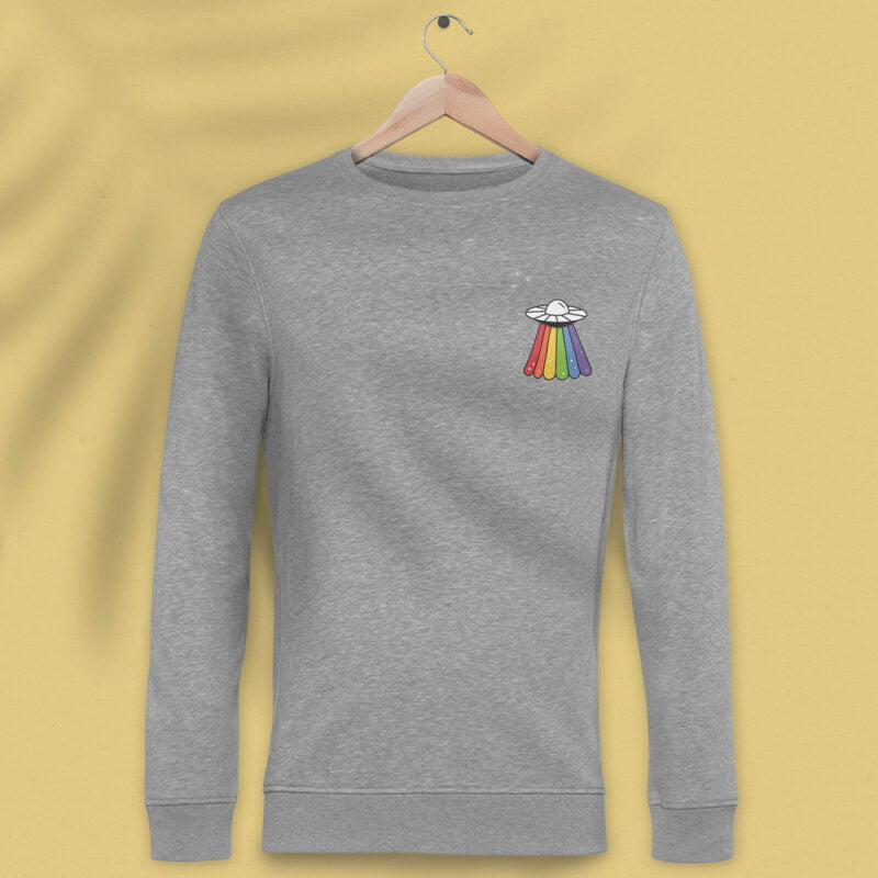 Sweatshirt with a rainbow UFO printed on the chest. This sweat has regular fit and premium fabric. Sweats - LGBTQ+ Gay Pride Apparel - ufo sweat 2 2
