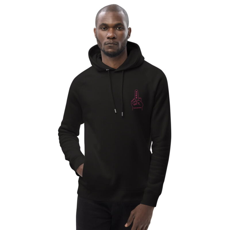 """Hoodie with a pink embroidery who represents a big foam hand with the text """"F*ck Homophobia"""". This sweat is perfect for Pride and everyday life. Clothing - LGBTQ+ Gay Pride Apparel - unisex eco hoodie black front 606efa2b90757"""