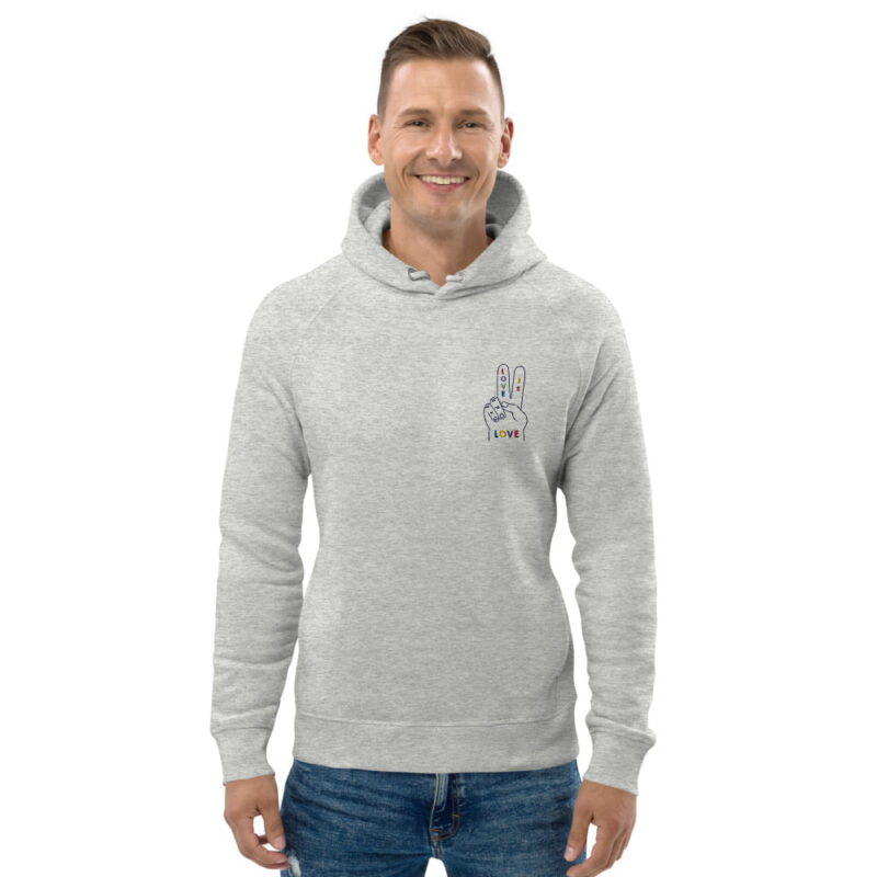 """Hoodie with a peace and love design embroidered on the chest. The message """"Love is love"""" is written in rainbow colors on a hand making the peace sign. Hoodies - LGBTQ+ Gay Pride Apparel - unisex eco hoodie heather grey front 607dfe9b3c604"""