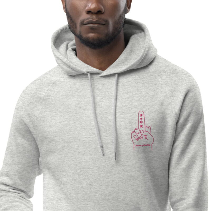 """Hoodie with a pink embroidery who represents a big foam hand with the text """"F*ck Homophobia"""". This sweat is perfect for Pride and everyday life. Clothing - LGBTQ+ Gay Pride Apparel - unisex eco hoodie heather grey zoomed in 606efa2b90caf"""
