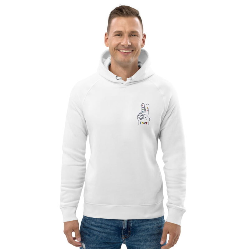 """Hoodie with a peace and love design embroidered on the chest. The message """"Love is love"""" is written in rainbow colors on a hand making the peace sign. Hoodies - LGBTQ+ Gay Pride Apparel - unisex eco hoodie white front 607dfe9b3cb71"""