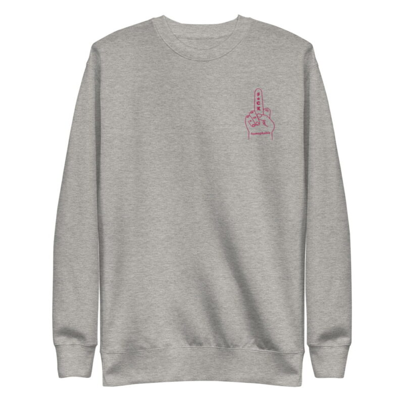 Regular sweat with a pink hand making the f*ck sign embroidered on the chest. This sweat shows an anti homophobia message. Sweats - LGBTQ+ Gay Pride Apparel - unisex fleece pullover carbon grey front 60793c63b70ca