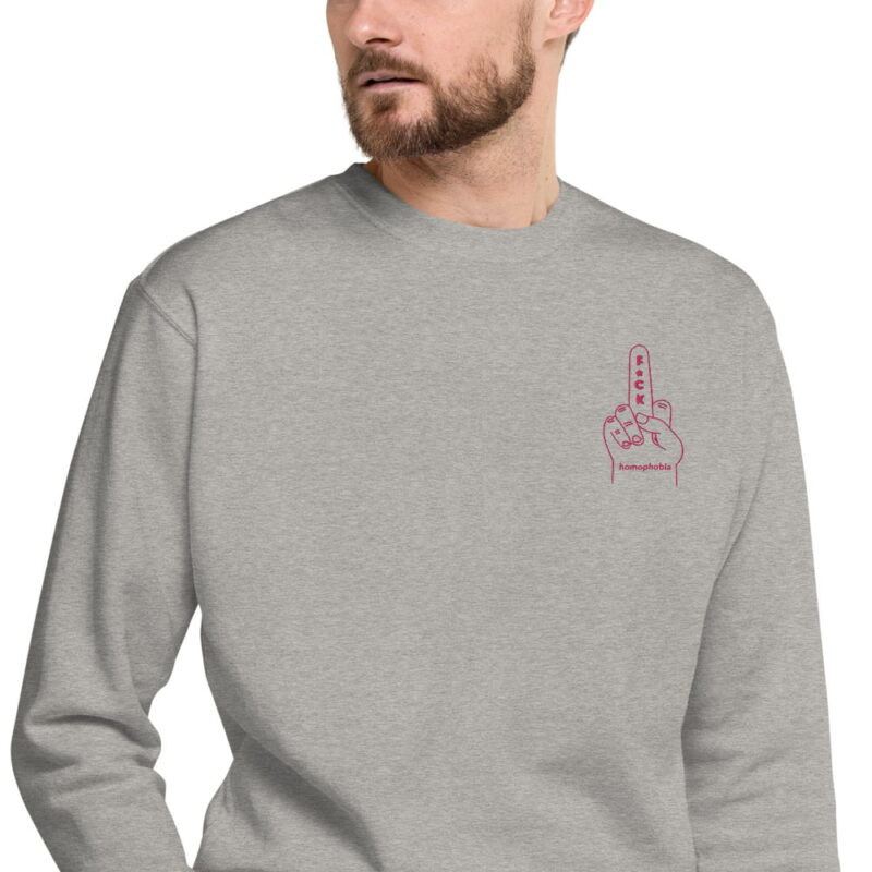 Regular sweat with a pink hand making the f*ck sign embroidered on the chest. This sweat shows an anti homophobia message. Sweats - LGBTQ+ Gay Pride Apparel - unisex fleece pullover carbon grey zoomed in 60793c63b73c8
