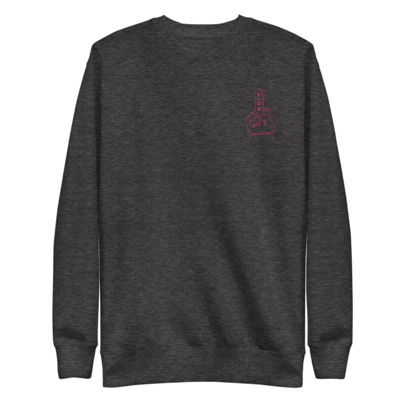 Regular sweat with a pink hand making the f*ck sign embroidered on the chest. This sweat shows an anti homophobia message. Sweats - LGBTQ+ Gay Pride Apparel - unisex fleece pullover charcoal heather front 60793c63b7734