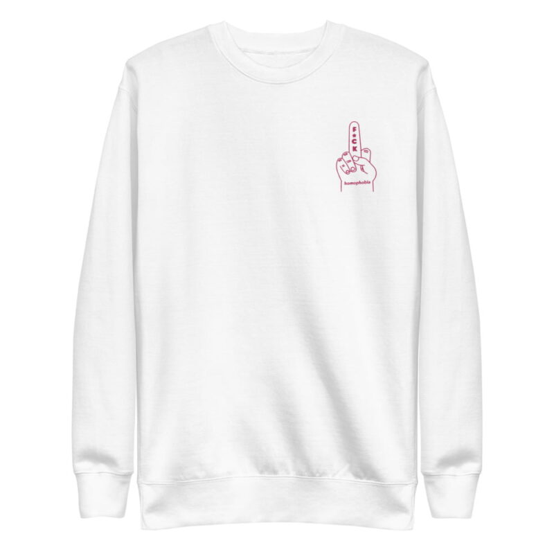 Regular sweat with a pink hand making the f*ck sign embroidered on the chest. This sweat shows an anti homophobia message. Sweats - LGBTQ+ Gay Pride Apparel - unisex fleece pullover white front 60793c63b78e8
