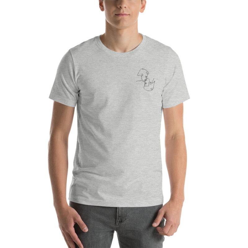 T-shirt with a monochrome embroidery on the left chest. This embroidery shows 2 men kissing is a 69 style. T-shirts - LGBTQ+ Gay Pride Apparel - unisex premium t shirt athletic heather front 60786e63b0eae