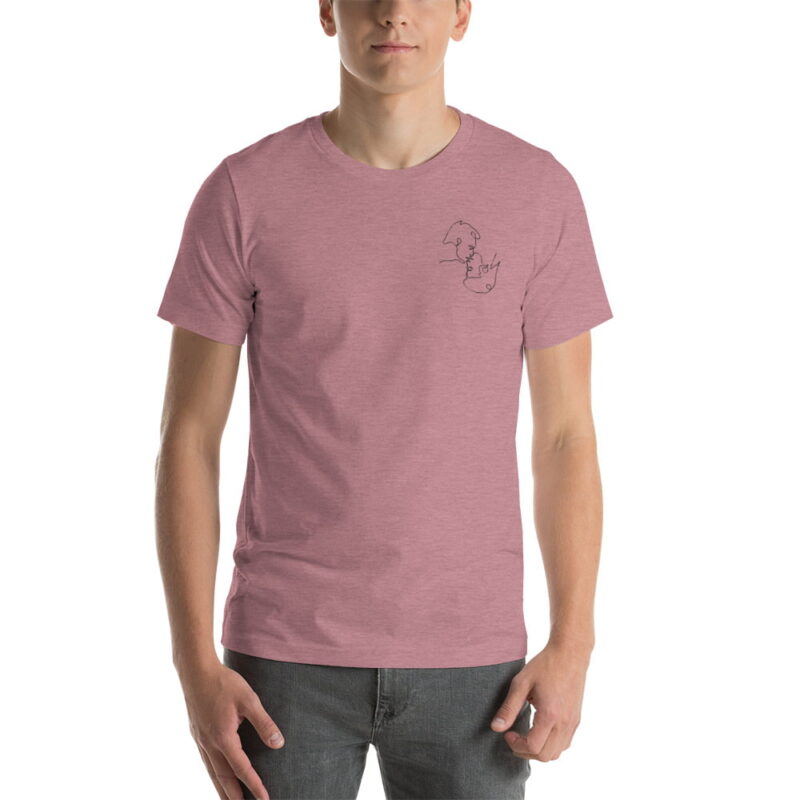 T-shirt with a monochrome embroidery on the left chest. This embroidery shows 2 men kissing is a 69 style. T-shirts - LGBTQ+ Gay Pride Apparel - unisex premium t shirt heather orchid front 60786e63aa1b5