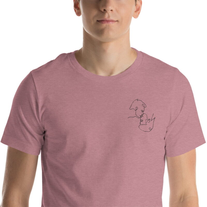 T-shirt with a monochrome embroidery on the left chest. This embroidery shows 2 men kissing is a 69 style. T-shirts - LGBTQ+ Gay Pride Apparel - unisex premium t shirt heather orchid zoomed in 60786e63aa020