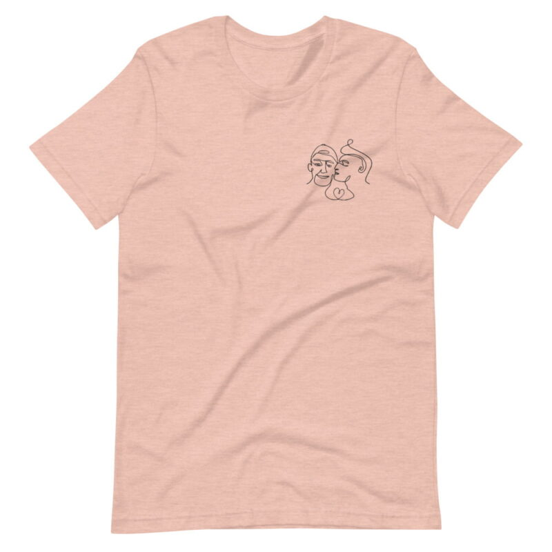 T-shirt with a monochrome embroidery of 2 men kissing. This cute design is made from a single pencil line. T-shirts - LGBTQ+ Gay Pride Apparel - unisex premium t shirt heather prism peach front 6076171ee4813