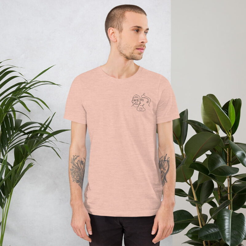 T-shirt with a monochrome embroidery of 2 men kissing. This cute design is made from a single pencil line. T-shirts - LGBTQ+ Gay Pride Apparel - unisex premium t shirt heather prism peach front 60761be76e9da