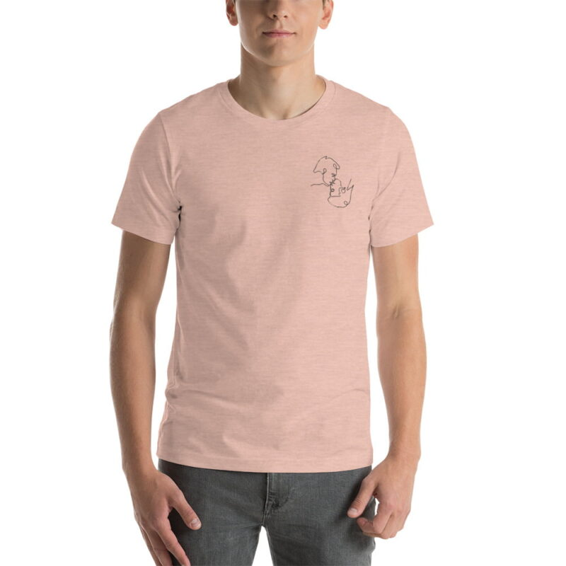 T-shirt with a monochrome embroidery on the left chest. This embroidery shows 2 men kissing is a 69 style. T-shirts - LGBTQ+ Gay Pride Apparel - unisex premium t shirt heather prism peach front 60786e63b2005