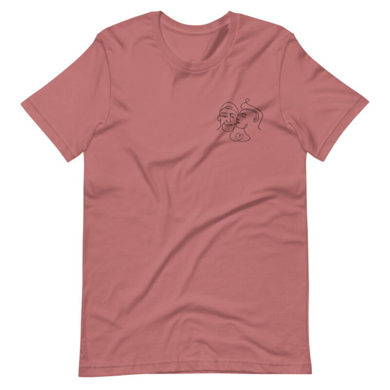 T-shirt with a monochrome embroidery of 2 men kissing. This cute design is made from a single pencil line. T-shirts - LGBTQ+ Gay Pride Apparel - unisex premium t shirt mauve front 6076171edf369