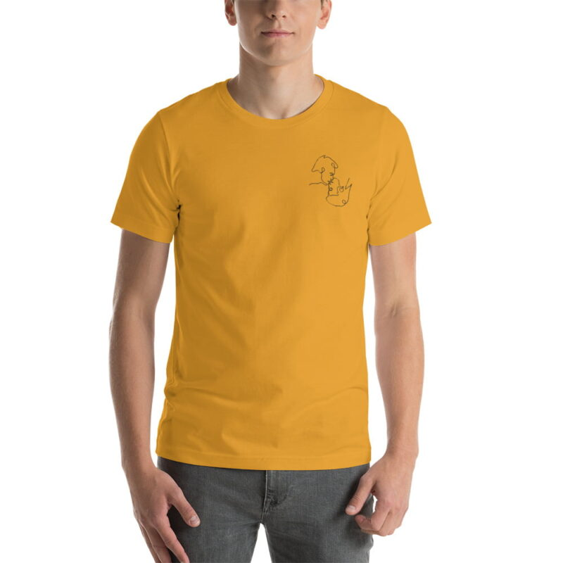 T-shirt with a monochrome embroidery on the left chest. This embroidery shows 2 men kissing is a 69 style. T-shirts - LGBTQ+ Gay Pride Apparel - unisex premium t shirt mustard front 60786e63aa83e