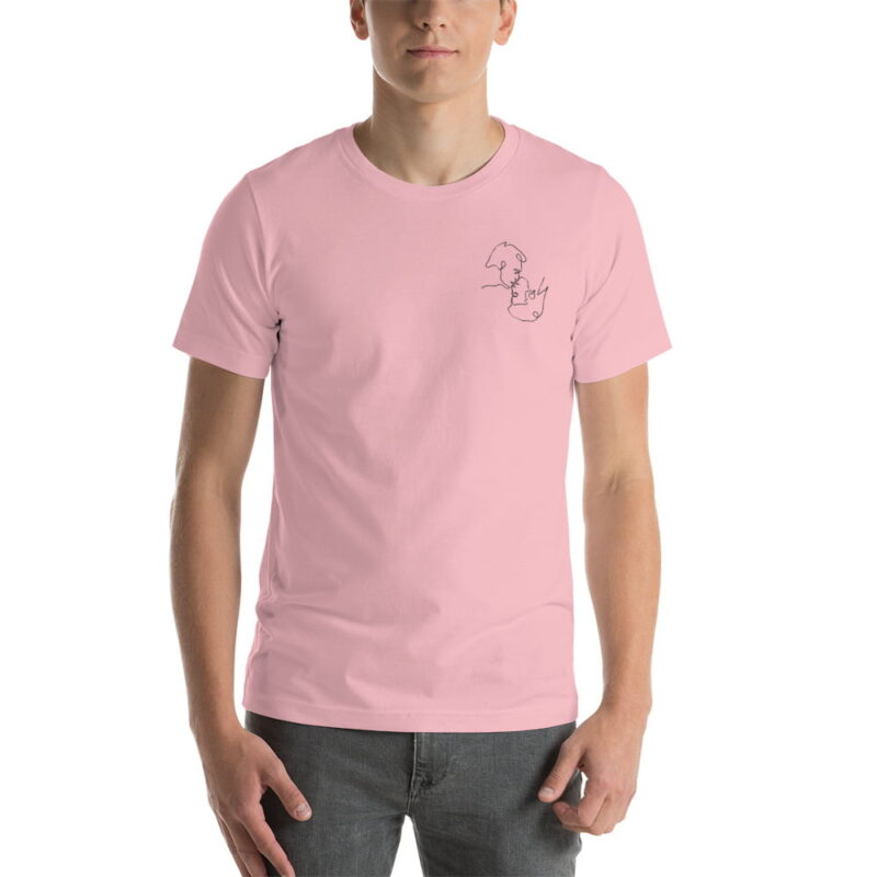 T-shirt with a monochrome embroidery on the left chest. This embroidery shows 2 men kissing is a 69 style. T-shirts - LGBTQ+ Gay Pride Apparel - unisex premium t shirt pink front 60786e63b7450