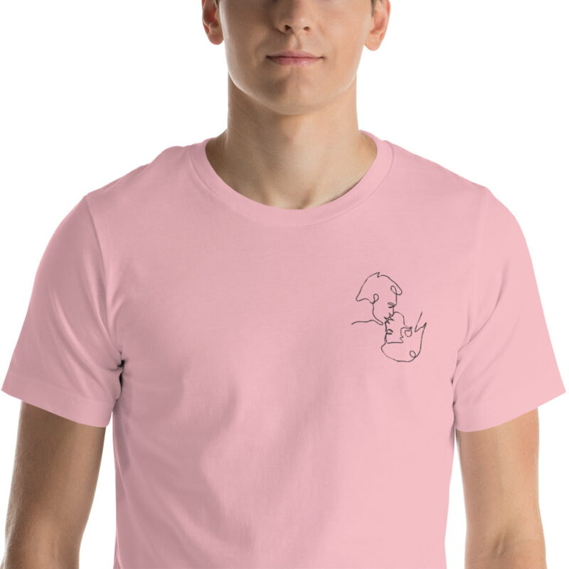 T-shirt with a monochrome embroidery on the left chest. This embroidery shows 2 men kissing is a 69 style. T-shirts - LGBTQ+ Gay Pride Apparel - unisex premium t shirt pink zoomed in 60786e63b2a24