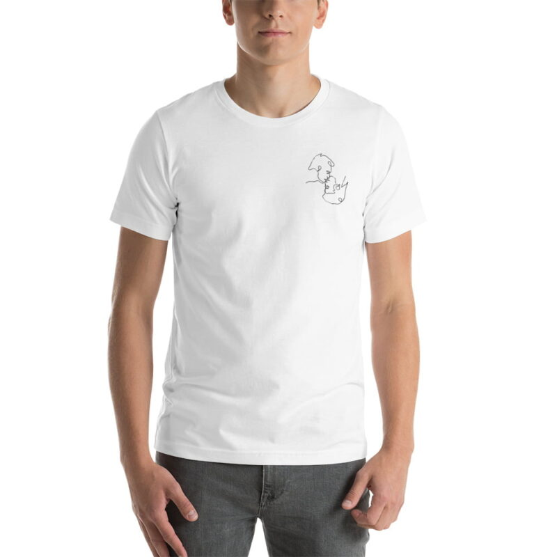 T-shirt with a monochrome embroidery on the left chest. This embroidery shows 2 men kissing is a 69 style. T-shirts - LGBTQ+ Gay Pride Apparel - unisex premium t shirt white front 60786e63b9486
