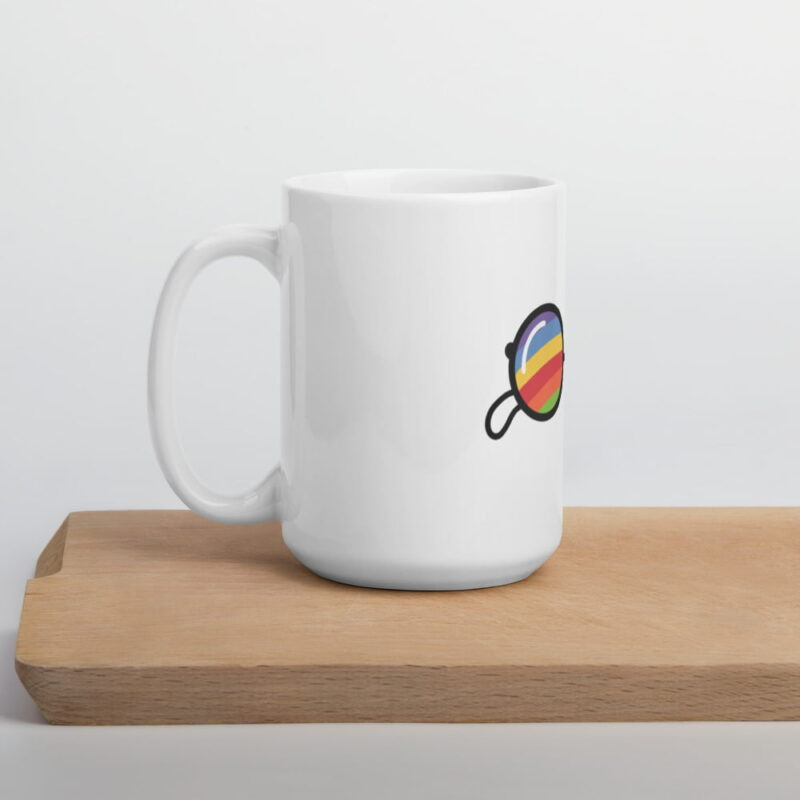 """""""Girls, the library is open"""" with this ceramic mug who represents a rainbow pair of sunglasses. Mugs - LGBTQ+ Gay Pride Apparel - white glossy mug 15oz cutting board 60755b205d9c4"""