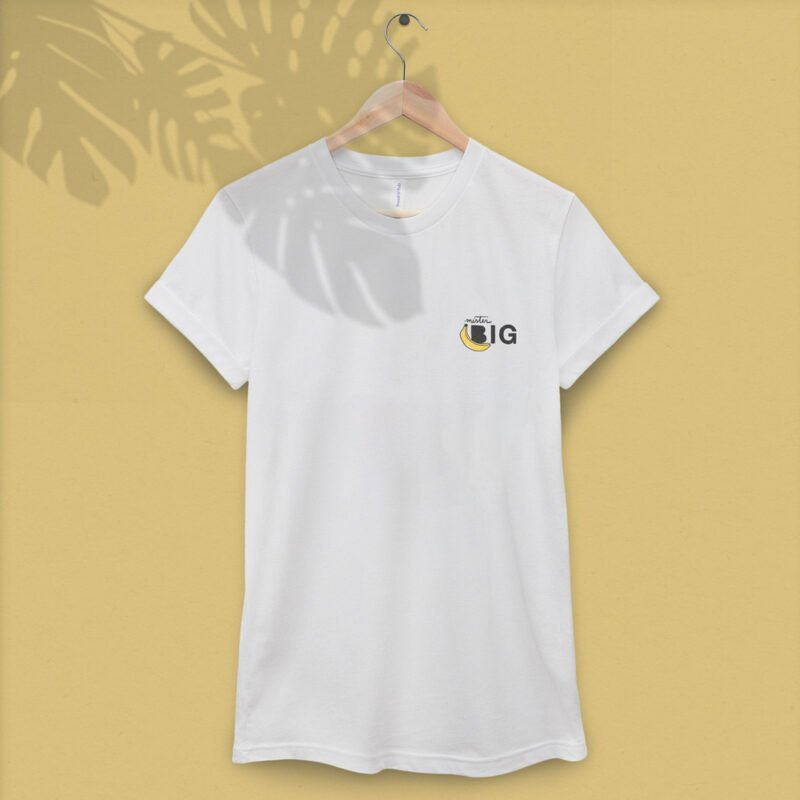 """T-shirt with a sexy embroidery on the left chest. The design represents a banana with the text """"Mister BIG"""". T-shirts - LGBTQ+ Gay Pride Apparel - bigBANANA tshirt 1"""