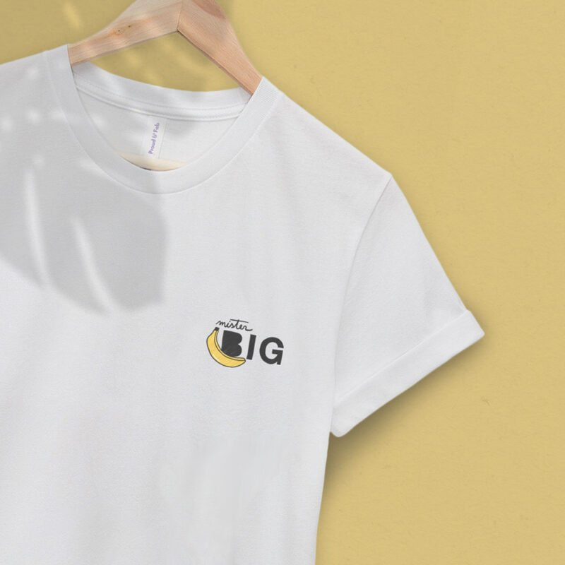 """T-shirt with a sexy embroidery on the left chest. The design represents a banana with the text """"Mister BIG"""". T-shirts - LGBTQ+ Gay Pride Apparel - bigBANANA tshirt 2"""