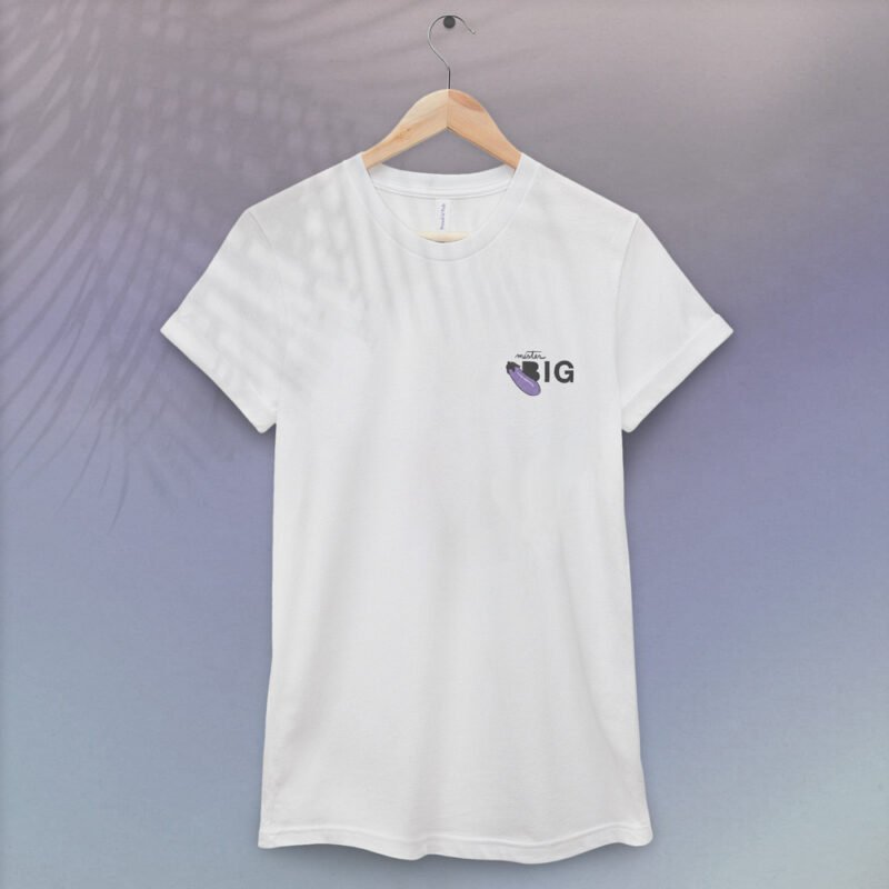 """T-shirt with a sexy message embroidered. It represents an eggplant emoji and the text """"Mister BIG"""". T-shirts - LGBTQ+ Gay Pride Apparel - bigEGGPLANT tshirt 1"""
