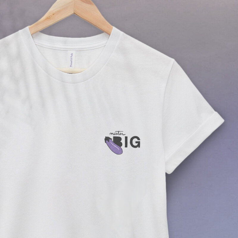 """T-shirt with a sexy message embroidered. It represents an eggplant emoji and the text """"Mister BIG"""". T-shirts - LGBTQ+ Gay Pride Apparel - bigEGGPLANT tshirt 2"""