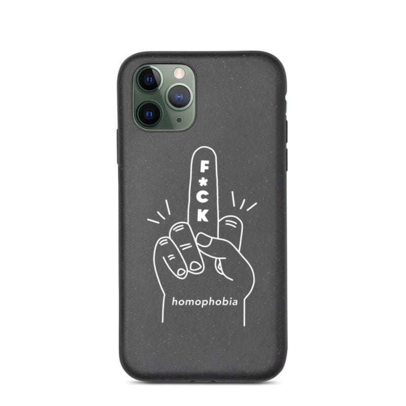 iPhone case with a hand making the f*ck sign. The message of this case is F*ck homophobia. This case is eco-friendly and 100% biodegradable. Phone Cases - LGBTQ+ Gay Pride Apparel - biodegradable iphone case iphone 11 pro case on phone 60a283a63cf90