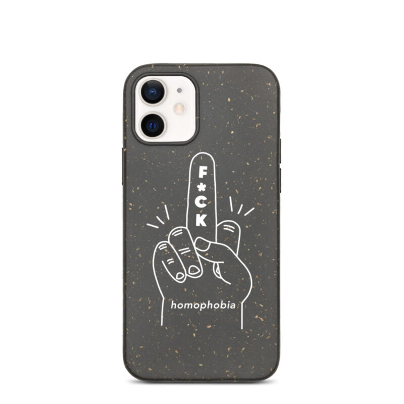 iPhone case with a hand making the f*ck sign. The message of this case is F*ck homophobia. This case is eco-friendly and 100% biodegradable. Phone Cases - LGBTQ+ Gay Pride Apparel - biodegradable iphone case iphone 12 case on phone 60a283a63d0d7