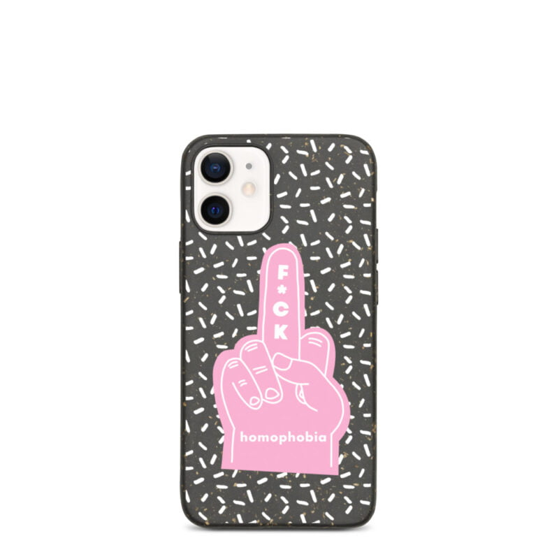 iPhone case with a pink hand making the f*ck sign. The message of this case is F*ck homophobia. This case is eco-friendly and 100% biodegradable. Phone Cases - LGBTQ+ Gay Pride Apparel - biodegradable iphone case iphone 12 mini case on phone 60a283f88d22f