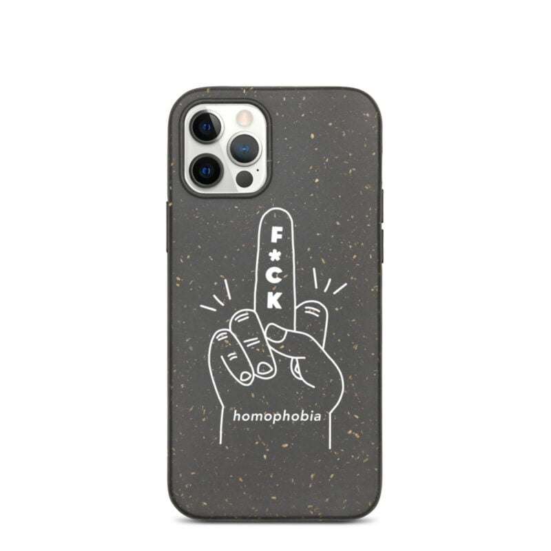 iPhone case with a hand making the f*ck sign. The message of this case is F*ck homophobia. This case is eco-friendly and 100% biodegradable. Phone Cases - LGBTQ+ Gay Pride Apparel - biodegradable iphone case iphone 12 pro case on phone 60a283a63d233