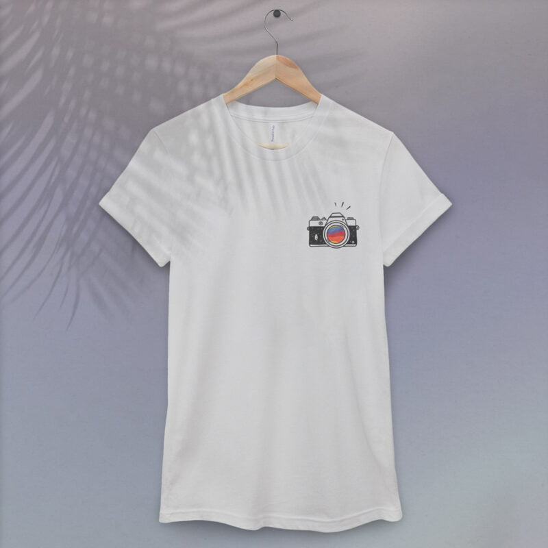T-shirt with a vintage camera embroidered on the left chest. A rainbow is visible through the lens. T-shirts - LGBTQ+ Gay Pride Apparel - camera tshirt 1