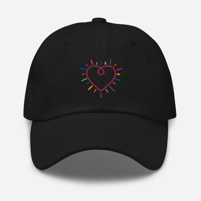 Dad hat with a heart embroidered. The heart is made from the 6 colors of the LGBT flag. Cap - LGBTQ+ Gay Pride Apparel - classic dad hat black front 60a2bc34c1f29