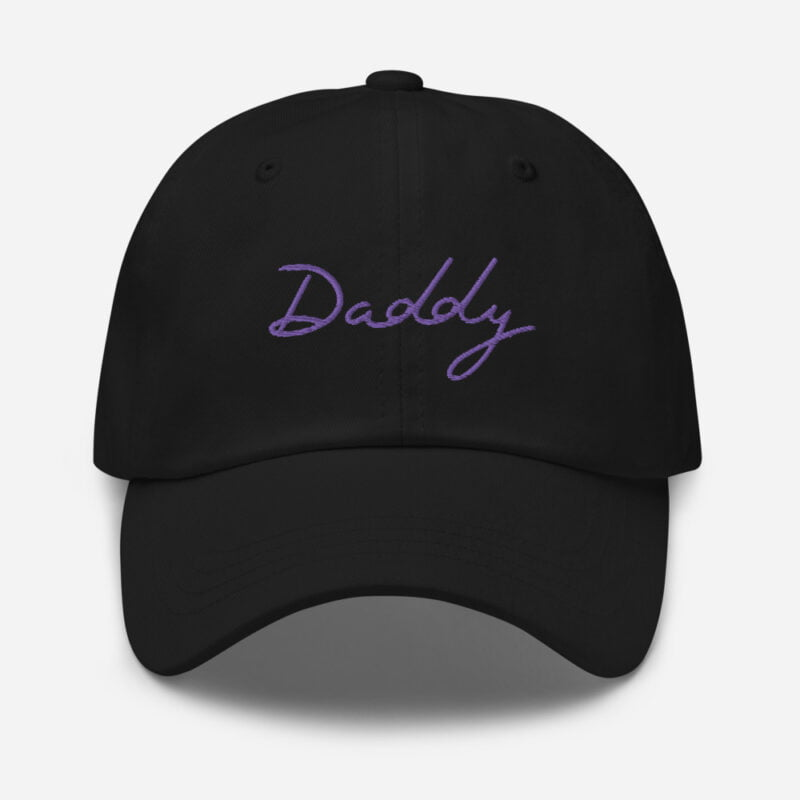 Dad hat with a large embroidery. The word Daddy is embroidered. The color of the embroidery may depend of the hat's color. Cap - LGBTQ+ Gay Pride Apparel - classic dad hat black front 60a2bc8686985