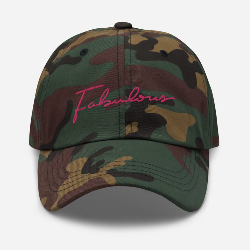 Dad hat with pink embroidery. The word Fabulous is handwritten on this cap. Cap - LGBTQ+ Gay Pride Apparel - classic dad hat green camo front 60a2b95e97359