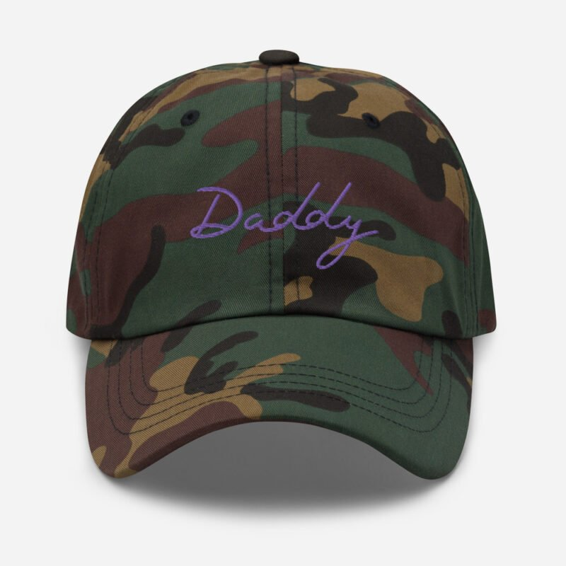 Dad hat with a large embroidery. The word Daddy is embroidered. The color of the embroidery may depend of the hat's color. Cap - LGBTQ+ Gay Pride Apparel - classic dad hat green camo front 60a2bc8686fdf