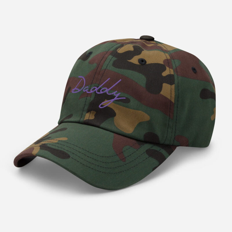 Dad hat with a large embroidery. The word Daddy is embroidered. The color of the embroidery may depend of the hat's color. Cap - LGBTQ+ Gay Pride Apparel - classic dad hat green camo left front 60a2bc868714b