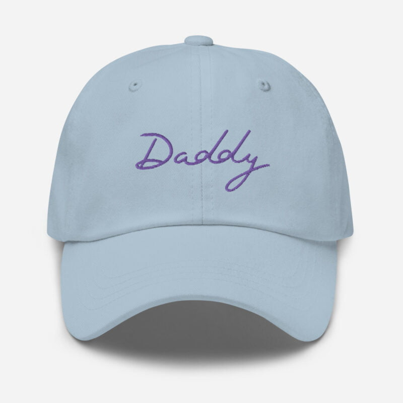 Dad hat with a large embroidery. The word Daddy is embroidered. The color of the embroidery may depend of the hat's color. Cap - LGBTQ+ Gay Pride Apparel - classic dad hat light blue front 60a2bc8687357