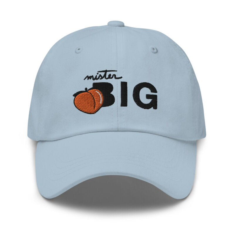 """Cap made for the members of the big booty club. It represents an embroidery of a peach and the text """"Mister BIG"""". Cap - LGBTQ+ Gay Pride Apparel - classic dad hat light blue front 60af5360161f9"""