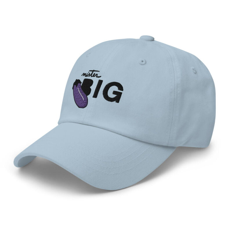 """Cap with a sexy embroidery. It represents an eggplant and the text """"Mister BIG"""". Cap - LGBTQ+ Gay Pride Apparel - classic dad hat light blue left front 60af53a6d1184"""