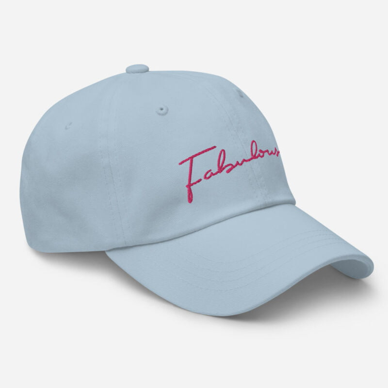 Dad hat with pink embroidery. The word Fabulous is handwritten on this cap. Cap - LGBTQ+ Gay Pride Apparel - classic dad hat light blue right front 60a2b95e977db