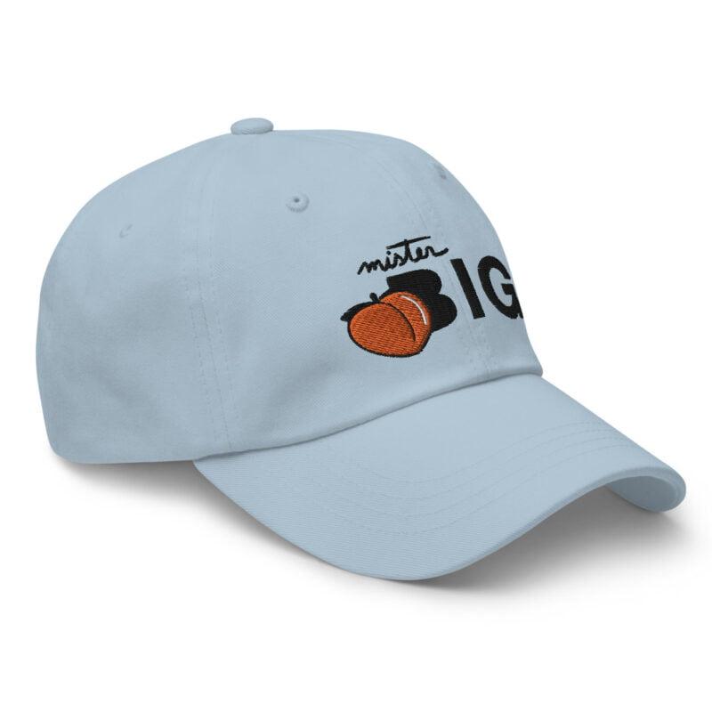 """Cap made for the members of the big booty club. It represents an embroidery of a peach and the text """"Mister BIG"""". Cap - LGBTQ+ Gay Pride Apparel - classic dad hat light blue right front 60af5360162d8"""