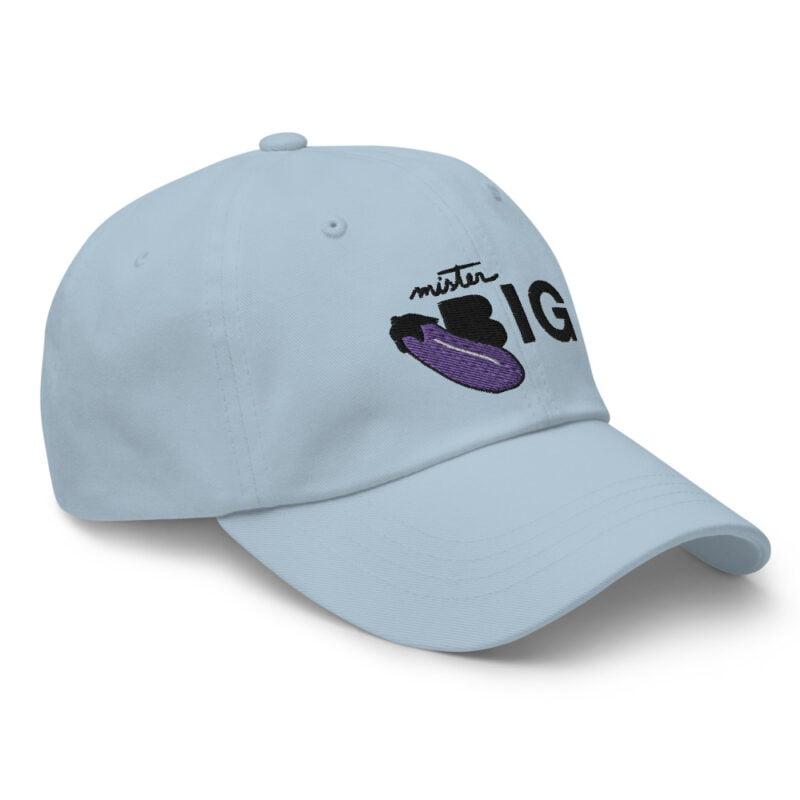 """Cap with a sexy embroidery. It represents an eggplant and the text """"Mister BIG"""". Cap - LGBTQ+ Gay Pride Apparel - classic dad hat light blue right front 60af53a6d1100"""